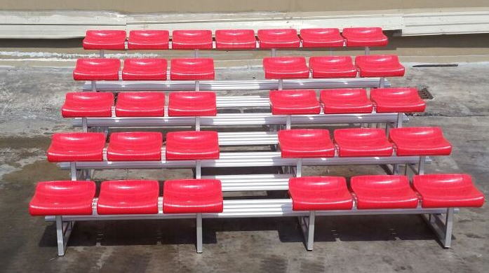 "5 Row Benches ""Valencia"" with Plastic seat and staircase"