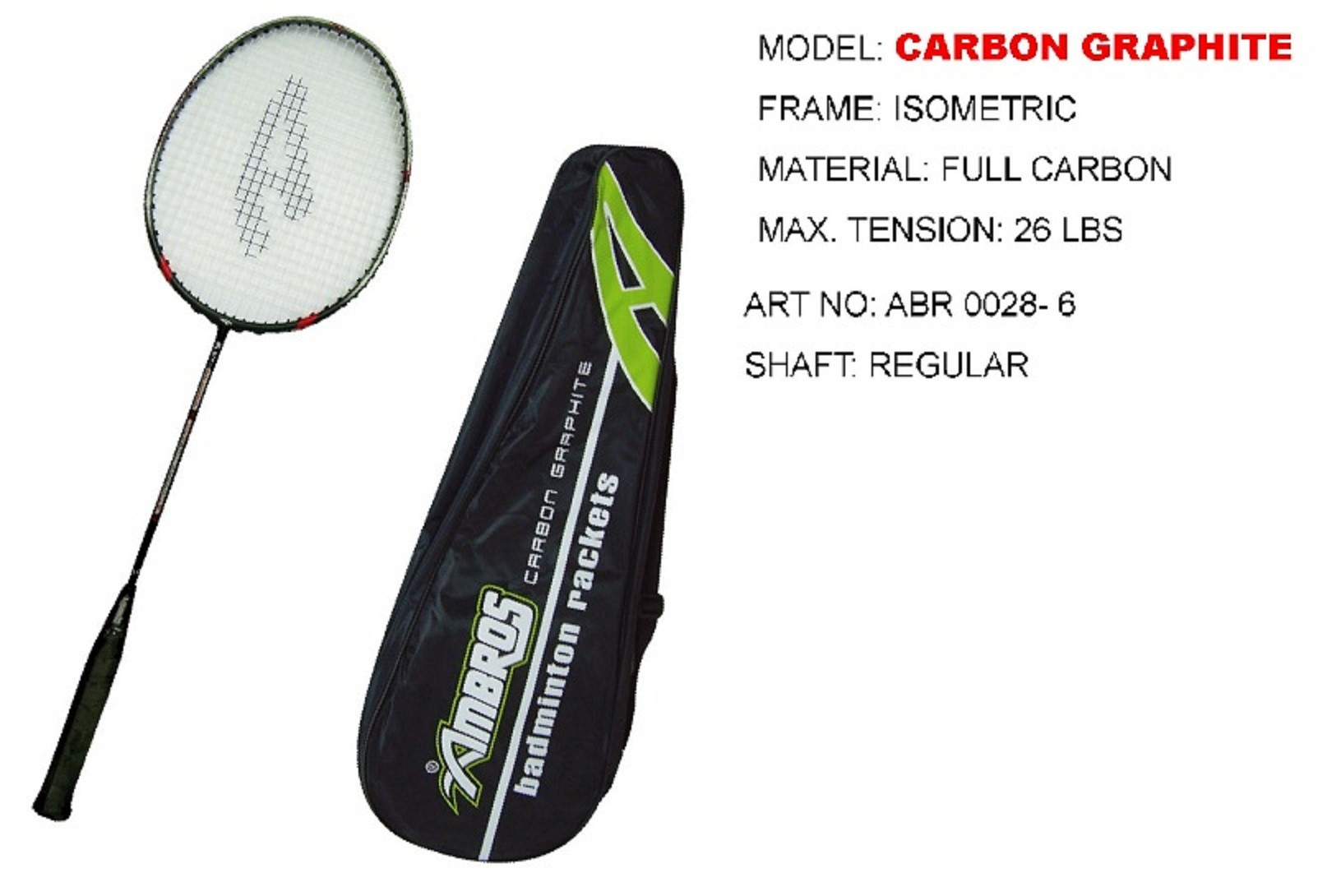 Ambros Badminton Racket Carbon Graphite